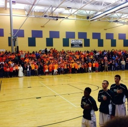John Paul the Great's fans stand during the National Anthem (Photo Courtesy of Higher Level Sports)