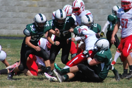 The Wolves make a tackle (Photo by: Laurie Young)