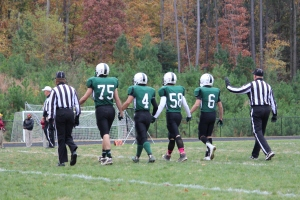 Senior captains (from left to right) Ryan McFadden, Michael Nguyen, Michael Mancini, and DJ Stefonsky go to midfield for the coin toss (Photo by: Liz Magyar)