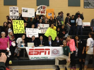 The crowd and their signs along with the SportsCenter crew.